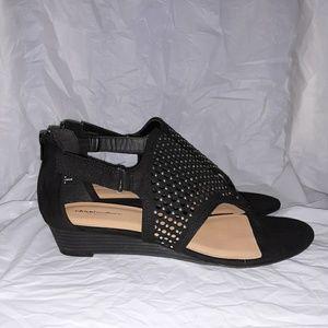 Avenue Shoes - Avenue Black Indie Studded Wedge Sandal 11W